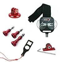 Action Mount? | CNC Aluminum Alloy Accessory Kit: Includes Red CNC Tripod Adapter, Red Flat Bottom CNC Mount, Red Aluminum Alloy Screw Set | Plus Universal Smartphone Mount Adapter + Aluminum Tightening Wrench. Perfect Accessory Kit for Action Mount Products, or Also Use with GoPro HERO HD Camera. [並行輸入品]