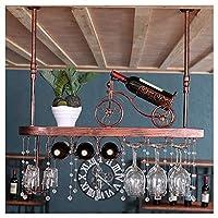 XM-ワインラック壁掛け ワインラック 壁掛け式ワインラック、 ヨーロッパの無垢材 ワイングラスホルダー クリエイティブブーム ワインラック デコレーションダイニングルームリビングルームバー (Color : #2, Size : 60cm)
