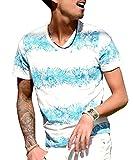 (JOKER Select) Tシャツ メンズ vネック ボタニカル柄 ボーダー 花柄 半袖 カットソー アロハ ビター系 大きいサイズ M A柄ブルーグリーン(78)