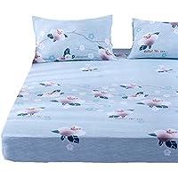 ZHIYUAN 花と枝の洗える綿のベッドシーツと2つの枕カバーセット,セミダブル