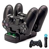 PS4/PS3/PS3 Move充電スタンド、BRHE PS4/PS3 コントローラー PlayStation Move モーションコントローラー 最新版 充電ディスプレイスタンド 2台同時に充電可能 LED 指示ランプ付き USBケーブル付
