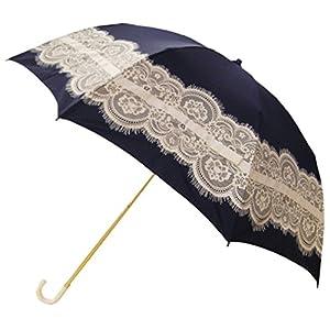 ピンクトリック 折りたたみ傘 日傘/晴雨兼用 レース&リボン ネイビー 8本骨 50cm UVカット 97%以上 35069