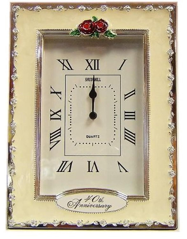 Clocks - 40th Anniversary Ruby Wedding Celebration Quartz Table Clock by Shudehill Giftware