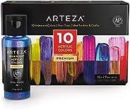 Arteza Iridescent Acrylic Paint Set, 60 ml Bottles, 10 Chameleon Colors, High Viscosity Shimmer Paint, Water-B