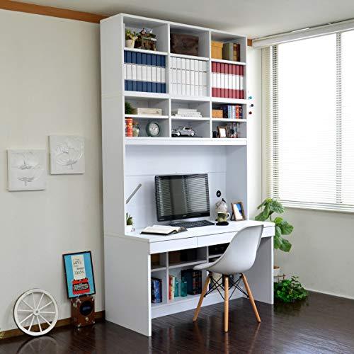 【予約販売11月上旬入荷予定】パソコンデスク システムデスク オフィスデスク 書斎 140cm幅 大型デスク W本棚付き ハイタイプ 3点セット J-Supply Ltd.(ジェイサプライ) ホワイト RP008-WH
