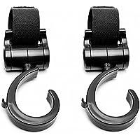 ベビーカーフック マルチフック 荷物フック 【耐荷重20KG】 マジックテープ式 自転車のハンドルやスーツケースにも使える 360度回転 (2個組)