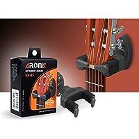 AROMA AH-85重力オートロックギターウォールハンガー、アコースティックエレクトリックギター低音、プラスチックブラック