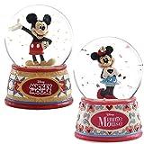 ディズニー スノードーム ミッキーマウス ミニーマウス 2点セット ウォーターグローブ 100mm 木彫り調フィギュア ディズニー・トラディション