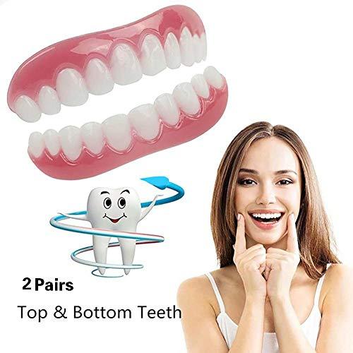 2ペアシリコーン歯突き板歯の快適さフィットフレックス化粧品歯義歯歯の上+下化粧品突き板シミュレーションブレース