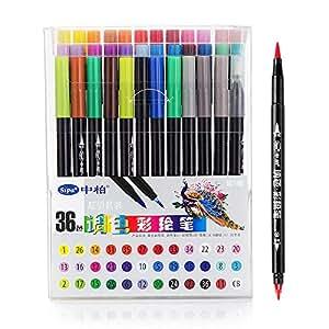 amazon co jp sipa 36 piece水彩ペンブラシグラフィック図面アート