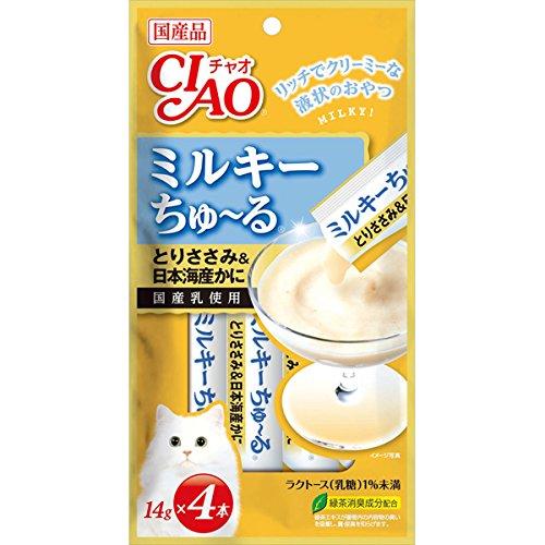 いなば CIAO チャオ ミルキーちゅーる とりささみ&日本海産かに 14g×4本 105650