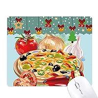 トマトのガーリックピザイタリア食品 ゲーム用スライドゴムのマウスパッドクリスマス
