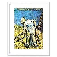 Van Gogh A Farmer Cutting Hay Old Master Framed Wall Art Print ヴァンゴッホファームオールドマスター壁