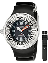 CITIZEN[シチズン] MODEL NO.bj8050-08e Men's ECO-DRIVE WR300 Professional Diver Black Rubber Strap エコドライブ 海外モデル 腕時計 逆輸入品
