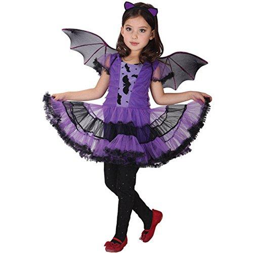 POTOJP ハロウィン 衣装 子供 魔女 悪魔 ウィッチ 蝙蝠 デビル 仮装 ハロウィン 子供服 女の子 コスプレ衣装 パーティー 公演 子供用 ワンピース 翼付き ヘアバンド 3点セット (140)