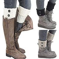 Kaariss 3 Pairs Womens Short Boots Socks Crochet Knitted Boot Cuffs Leg Warmers Socks