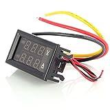 Aukru YB27VA DC0-100V 10A 小型 直流 DC 2 in 1 デジタル 電圧計 電流計 赤/青 デュアルディスプレイ メーター
