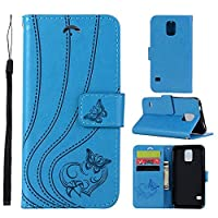 Phoebe Samsung Galaxy S5 i9600 Case, Samsung Galaxy S5 i9600 Wallet Case,レザーカバー, Premium Slim Leather Wallet Back Case with Credit Card ID Holder Protective Cover for Samsung Galaxy S5 i9600,Blue