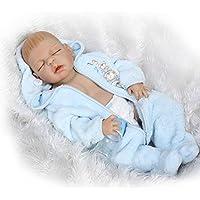 Dollshow Real Life Fullビニール人形Sleeping Baby Reborn Boy Paintedヘア磁気口23インチ57 cm