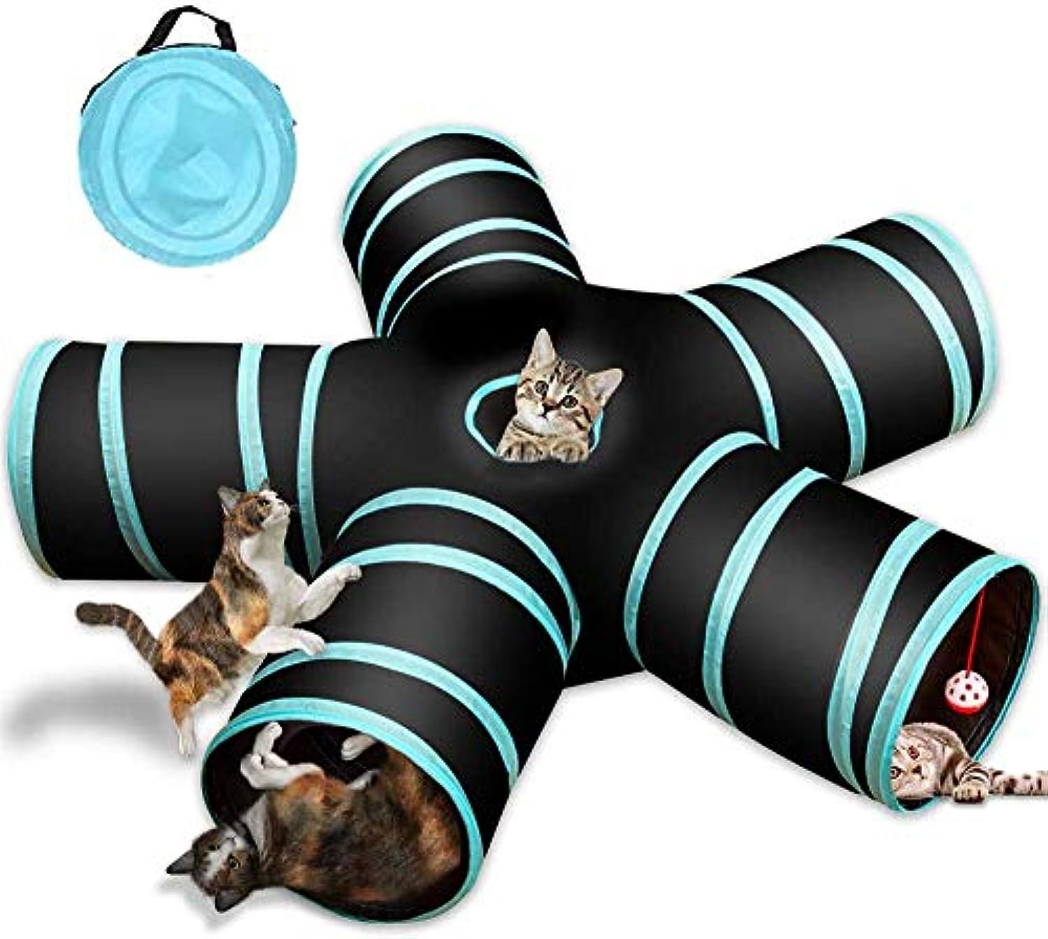 宝石処方恩赦猫5通 トンネル お留守番に ペット用品 折りたたみ式 キャットトンネル 子犬 うさぎ/ハムスター/子犬玩具 鳴るボールに付き