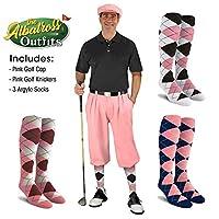 メンズゴルフKnicker衣装–ピンクゴルフKnickers、ゴルフキャップ、3アーガイルソックス