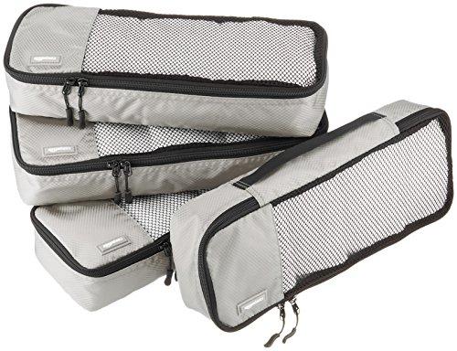 Amazonベーシック 旅行用 収納 ケース 4点セット - スリム x 4 グレー