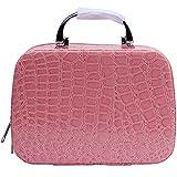 ANGGO 化粧品収納ケース 化粧品ケース 化粧ポーチ 収納ケース 化粧品 ブラシ 小物収納 ワニ 旅行用ケース ボックス  (ピンク)