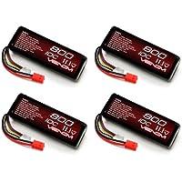 ヴェノム10C 800mAh 11.13s Lipoバッテリーwith Micro Molexプラグx4パック