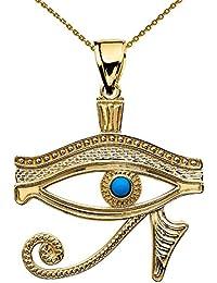 14Kイエローゴールド?エジプトブルー「ホルスの目」ペンダントネックレス  ゴールド