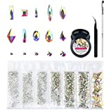 Crystal AB Round & Multi-Shape Glass Nail Rhinestone Set(1728+60pcs), Flatback Gems Stones For Nails Decorations (1728+60 pcs Rhinestones with Glue)