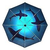ALAZA 自動開閉式折りたたみ傘 鮫柄 サメ柄 魚柄 さかな柄 カスタムデザイン PUコーティング 8本骨 ケース付き 3段折 梅雨対策 プレゼント