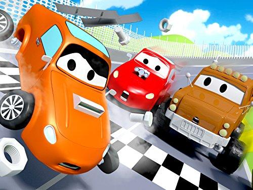 レース事故 & フランクのホースが故障そして, レッカー車のトム, (子供向け)車&トラックの 建設アニメ