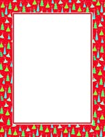 Christmas Tree Border Red & Gold Foil Letterhead, 22cm x 28cm, 25/PK