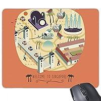 シンガポールのランドマークへようこそ 長方形のノンスリップゴムパッドのゲームマウスパッドプレゼント