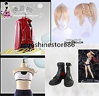 「ノーブランド品」Fate/Grand Order 赤のセイバー モードレッド私服 合皮 コスプレ衣装+ウィッグ+靴