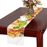 LKCDNG テーブルランナー 美味しいピザ クロス 食卓カバー 麻綿製 欧米 おしゃれ 16 Inch X 72 Inch (40cm X 182cm) キッチン ダイニング ホーム デコレーション モダン リビング 洗える