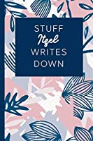 Stuff Itzel Writes Down: Personalized Journal / Notebook (6 x 9 inch) STUNNING Navy Blue and Mauve Blush Pink Pattern