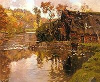 手描き-キャンバスの油絵 - Cottage By A Stream Norwegian Frits Thaulow 芸術 作品 洋画 ウォールアートデコレーション -サイズ15