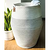 "Goodpick Laundry Hamper | Woven Cotton Rope Dirty Clothes Hamper Tall Kids Curver Laundry Basket Large, 25.6"" Height"