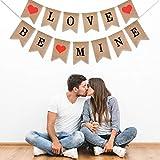 Boao ラブ バナー と Be Mine 黄麻布 バナー 写真 小道具 バレンタインデー ウェディング 婚約 デコレーション 2セット