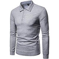 Cottory Men's Rib Cuff Long Sleeve Polo Sport Shirt