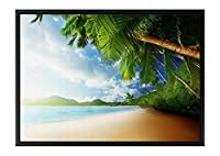 美しい熱帯の海岸 風景の写真 黒の木製フレーム装飾画 アートキャンバス印刷ポスター(40cmx60cmx3.5cm)