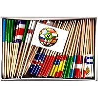 卸売ワールドカップ2018サッカーつまようじflags-25ボックス100つまようじフラグ、3つのフラグのチームの各competing for the Cup Plus 4サッカーボールカップケーキフラグToothpicks ; 2500Cocktail Picks