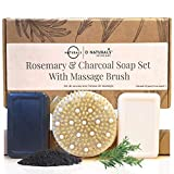 Best Cellulite & Lymphatic Massage Treatment Kit. Exfoliating Body Scrubber, Vegan Deep Tissue Dry Brush Massage. Incl, Natural Charcoal & Peppermint Detoxifying Massage Bar Soaps w/ Essential Oils
