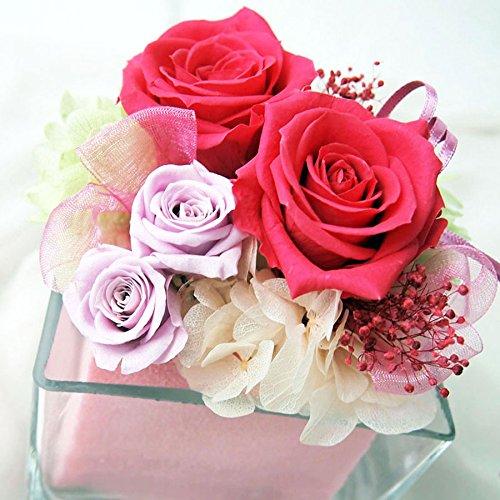 フラデコ プリザーブドフラワー グラッシー クリアケース&ラッピング付 ピンク