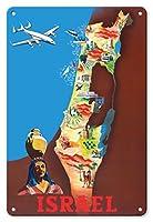 22cm x 30cmヴィンテージハワイアンティンサイン - イスラエル - テルアビブ、エルサレム - ビンテージな航空会社のポスター によって作成された モーリス・ランルック c.1951