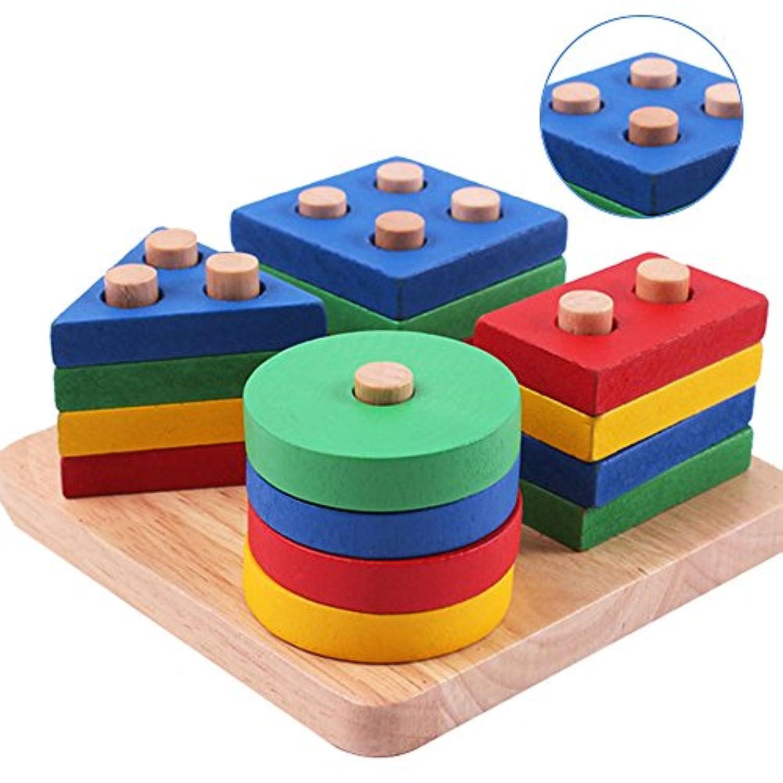 YUANSHOP1 知育玩具 積み木 棒さし 型はめ 型あわせ パズル 幼児/赤ちゃん/子供用 木製パズル おもちゃ 幾何形状 立体 カラフル ブロック 3--6歳対応