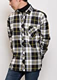 MATTHEW BROWNEE チェック シャツ 長袖 カジュアル ネルシャツ メンズ (日本サイズL(43) ブラックxイエロー)
