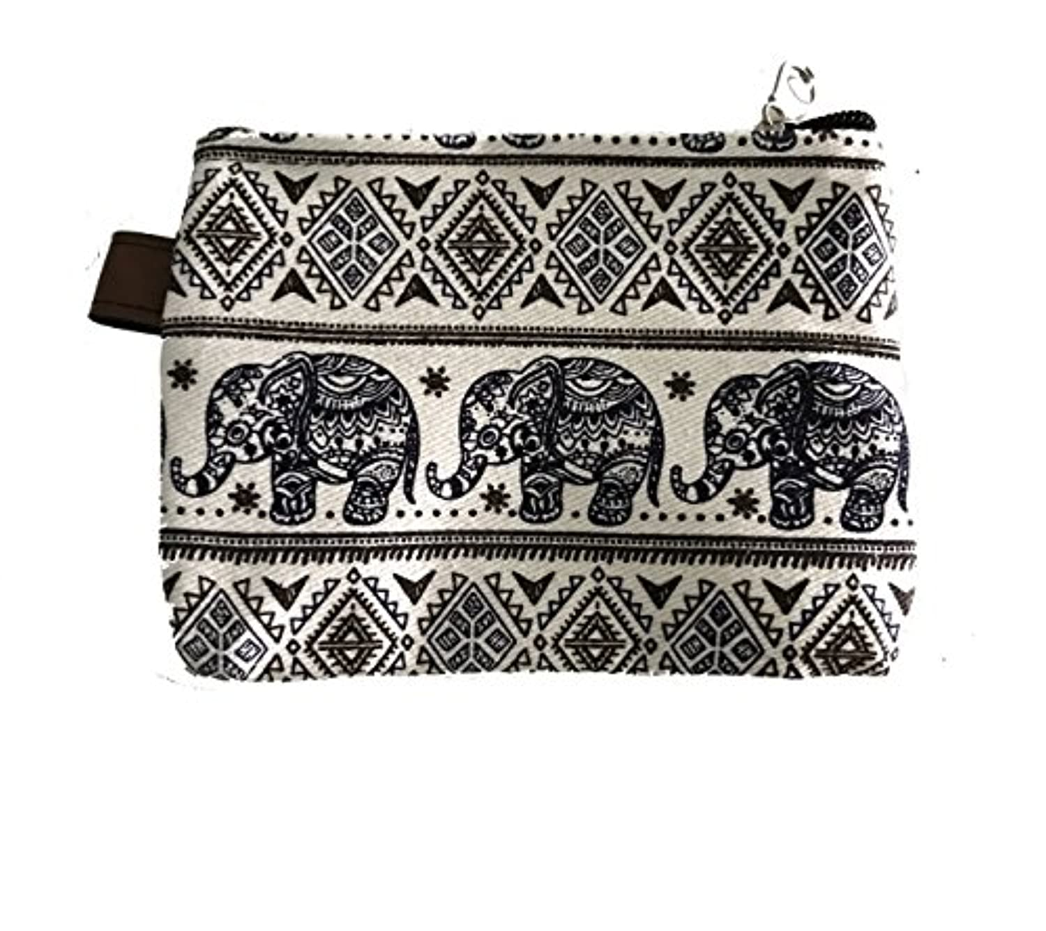 BT Thai Painting Canvas With Elephant Zipper Coin Purse Pouch Products of Thailand.