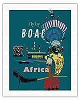 アフリカ - BOAC(英国海外航空)によりフライ - アフリカのネイティブ - ビンテージな航空会社のポスター によって作成された ディック・ニーガス・アンド・フィリップ・シャーランド c.1954 - キャンバスアート - 51cm x 66cm キャンバスアート(ロール)